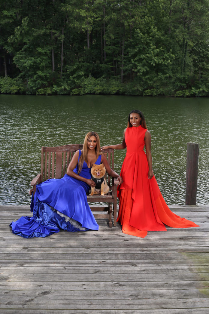 On Cynthia, Jovani. On Noelle, Solace London. Both courtesy of Tootsies. On Bailey, Dogo Designs, courtesy of Bark Fifth Ave.